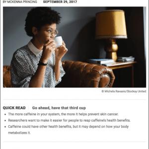 Skin Cancer Prevention By Caffeine