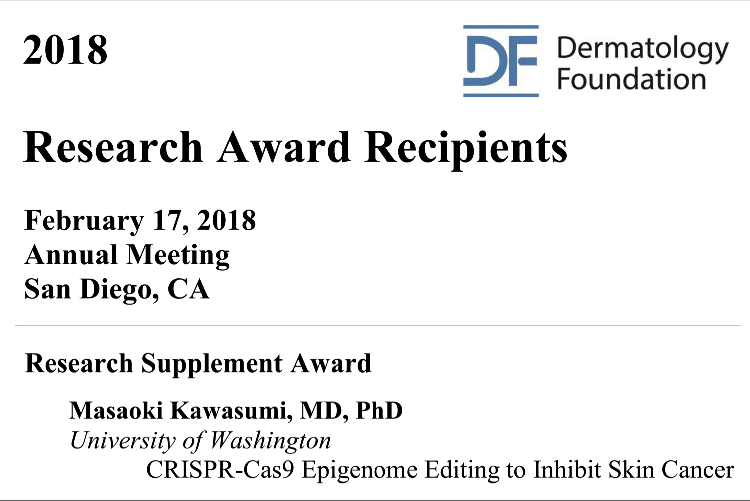 Dermatology Foundation Research Supplement Award